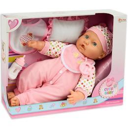 Bebelus Cute Baby in costum cu buline, pernuta, bavetica si biberon 37 cm