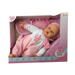 Bebelus Cute Baby in costum cu iepuras ,pernuta, bavetica si biberon 37 cm