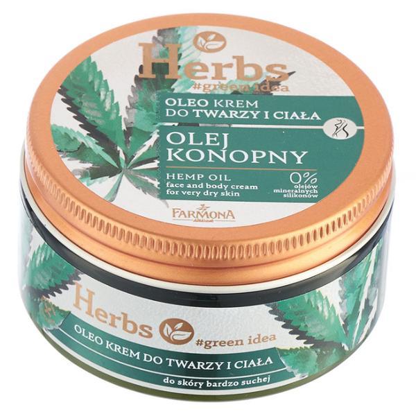 Crema pentru Fata si Corp cu Ulei de Canepa pentru Piele Foarte Uscata - Farmona Herbs Hemp Oil Face and Body Cream for Very Dry Skin, 100ml imagine produs
