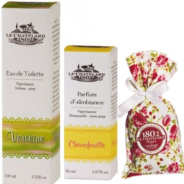 Pachet Apa de Toaleta Verbina si Parfum Camera Caprifoi si Flori Lavanda Le Chatelard 1802 imagine produs