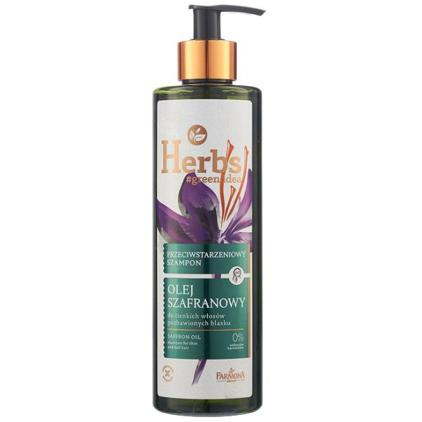 Sampon cu Ulei de Sofran pentru Par Subtire si Lipsit de Stralucire - Farmona Herbs Saffron Oil Shampoo for Thin and Dull Hair, 400ml poza