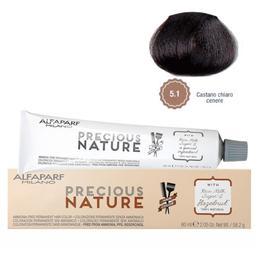 Vopsea Permanenta Fara Amoniac - Alfaparf Milano Precious Nature Ammonia-Free Permanent Hair Color, nuanta 5.1 Castano Chiaro Cenere