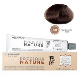 Vopsea Permanenta Fara Amoniac - Alfaparf Milano Precious Nature Ammonia-Free Permanent Hair Color, nuanta 7.01 Biondo Medio Nacre