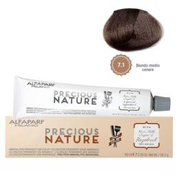 Vopsea Permanenta Fara Amoniac - Alfaparf Milano Precious Nature Ammonia-Free Permanent Hair Color, nuanta 7.1 Biondo Medio Cenere