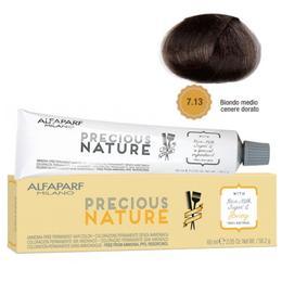 Vopsea Permanenta Fara Amoniac - Alfaparf Milano Precious Nature Ammonia-Free Permanent Hair Color, nuanta 7.13 Biondo Medio Cenere Dorato