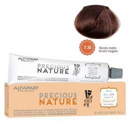 Vopsea Permanenta Fara Amoniac - Alfaparf Milano Precious Nature Ammonia-Free Permanent Hair Color, nuanta 7.35 Biondo Medio Dorato Mogano