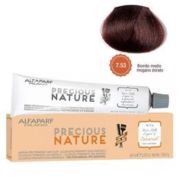 Vopsea Permanenta Fara Amoniac - Alfaparf Milano Precious Nature Ammonia-Free Permanent Hair Color, nuanta 7.53 Biondo Medio Mogano Dorato