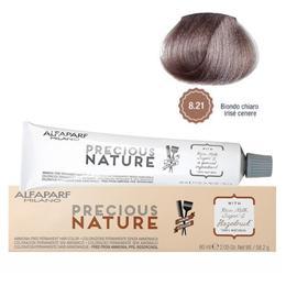 Vopsea Permanenta Fara Amoniac - Alfaparf Milano Precious Nature Ammonia-Free Permanent Hair Color, nuanta 8.21 Biondo Chiaro Irise Cenere