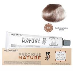 Vopsea Permanenta Fara Amoniac - Alfaparf Milano Precious Nature Ammonia-Free Permanent Hair Color, nuanta 9.1 Biondo Chiarissimo Cenere