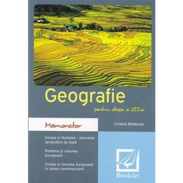 Memorator de geografie cls. 12 - Cristina Moldovan, editura Booklet