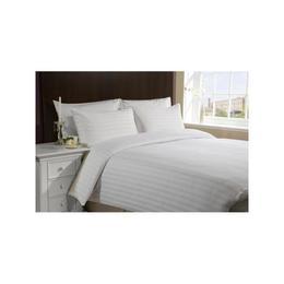 Lenjerie de pat pentru o persoana, Damasc satinat cu dungi, dimensiuni 140X240, Alb Hotel