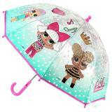 Umbrela pentru copii LOL Surprise transaprenta cu buline si imaginea papusilor lol