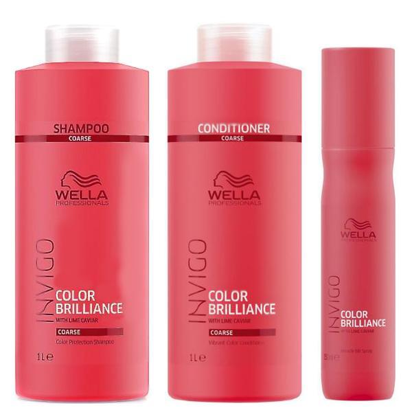 Pachet pentru Par Vopsit Aspru Wella Professionals Invigo Color Brilliance - Sampon, Balsam, Spray