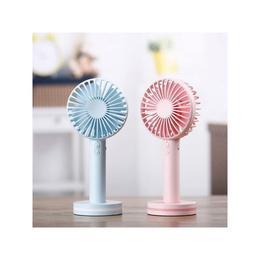 Mini fan de mana portabil, 3 trepte ventilatie, incarcare USB, baterie 2000mAh, oglinda make-up, 5W, blue