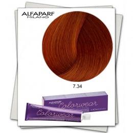 Vopsea Fara Amoniac - Alfaparf Milano Color Wear nuanta 7.34 Biondo medio Dorato Rame