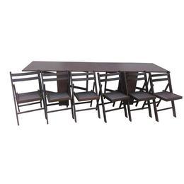 Set masa plianta de 12 persoane cu 6 scaune pliante, wenge