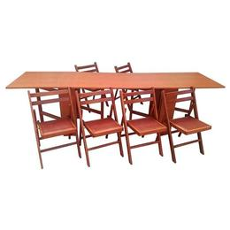 Set masa plianta de 12 persoane cu 6 scaune pliante, cires