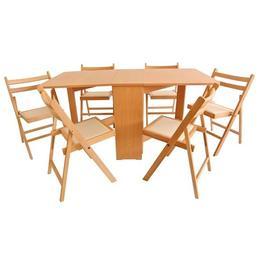 Set masa plianta MD1 cu 6 scaune pliante, fag