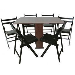 Set masa pliabila PRACTIC 6 scaune, wenge