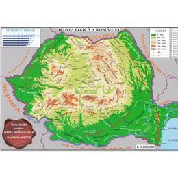 Harta fizica a Romaniei + Harta administrativa a Romaniei 1:3.200.000 (pliata), editura Carta Atlas