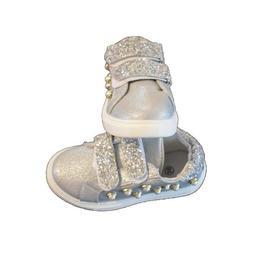 Adidasi argintii pentru fetite, cu margele marime 29