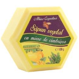 Sapun Hexagonal Vegetal cu Miere si Cimbrisor Albina Carpatina, Apicola Pastoral Georgescu, 100g