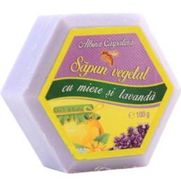 Sapun Hexagonal Vegetal cu Miere si Lavanda Albina Carpatina, Apicola Pastoral Georgescu, 100g de la esteto.ro