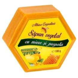 Sapun Hexagonal Vegetal cu Miere si Propolis Albina Carpatina, Apicola Pastoral Georgescu, 100g de la esteto.ro