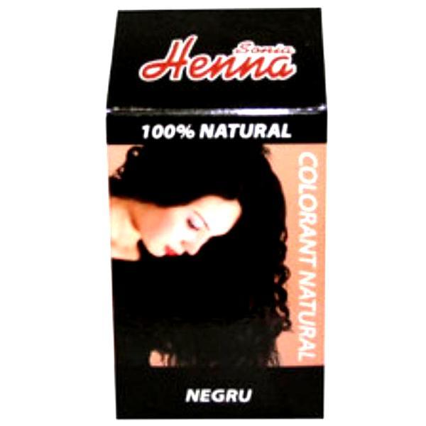 Colorant Natural Henna Sonia, Negru, 100 g imagine produs