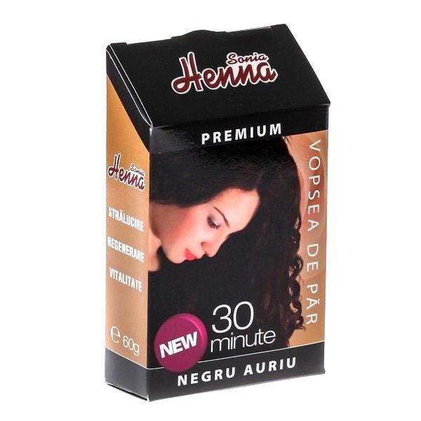 Vopsea de Par Premium Henna Sonia, Negru Auriu, 60 g imagine produs