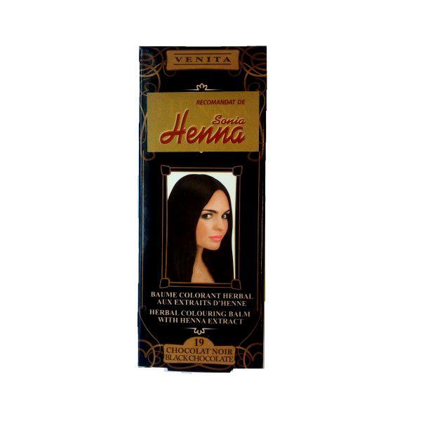 Balsam Colorant cu Extract de Henna Henna Sonia, Nr.19 Ciocolata Neagra, 75 ml imagine produs