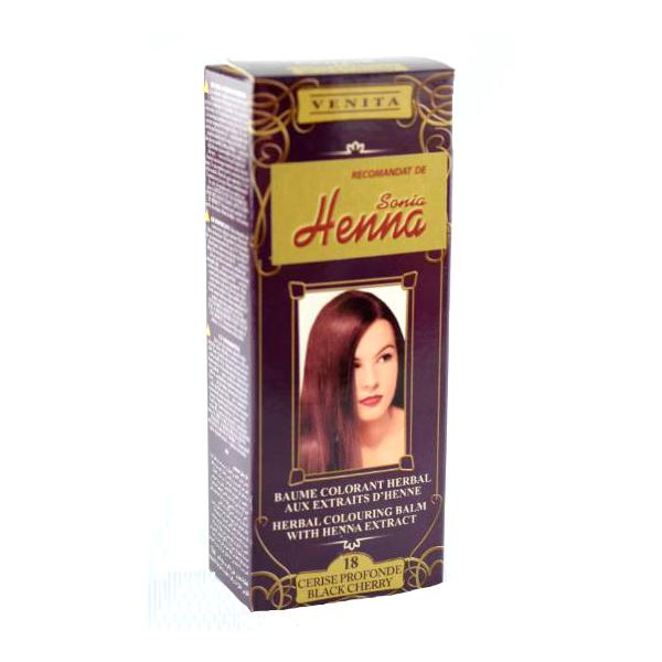 Balsam Colorant cu Extract de Henna Henna Sonia, Nr.18 Cireasa Neagra, 75 ml imagine produs