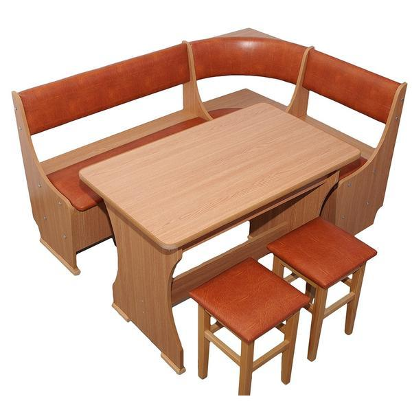 Coltar de bucatarie MIOARA, PAL Melaminat, Masa fixa, 2 taburete tapitate, Stejar