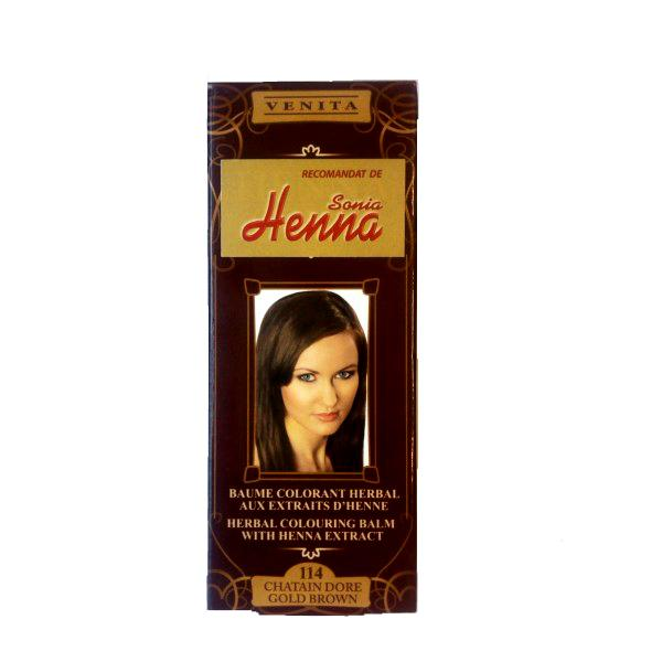 Balsam Colorant cu Extract de Henna Henna Sonia, Nr.114 Saten Auriu 75 ml imagine produs