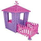 Casuta pentru copii Stone House Pink/Purple cu gardulet
