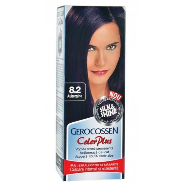 Vopsea de Par Silk&Shine Gerocossen Color Plus, nuanta 8.2 Aubergine, 50 g poza