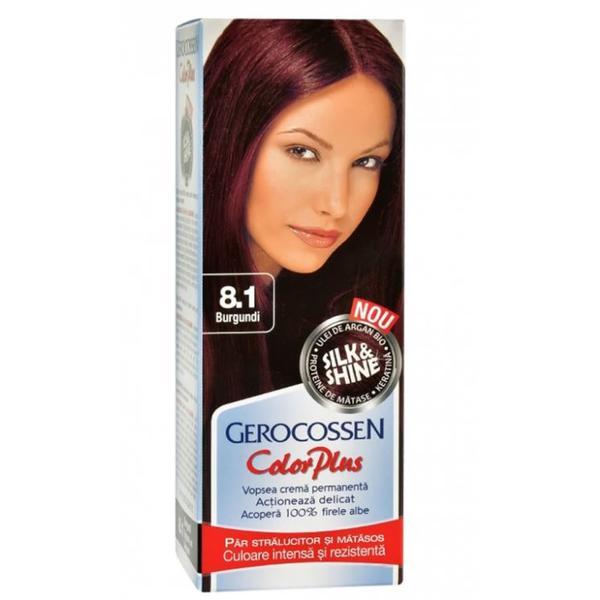 Vopsea de Par Silk&Shine Gerocossen Color Plus, nuanta 8.1 Burgundi, 50 g poza