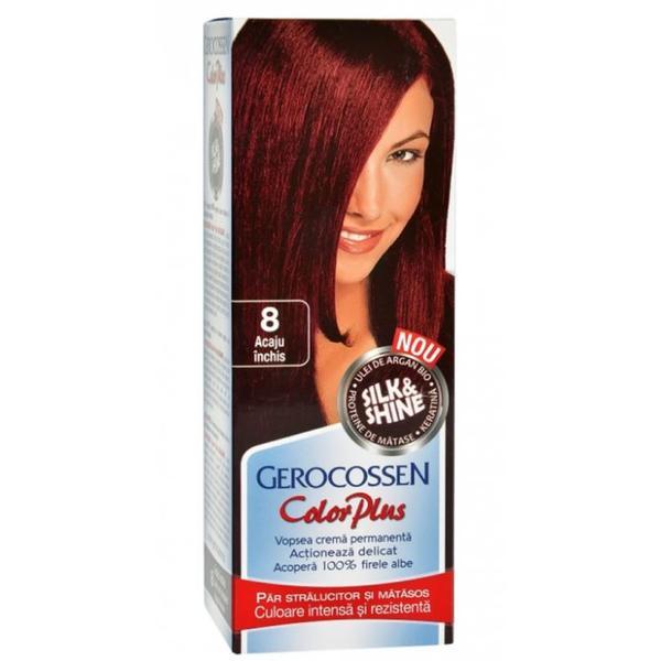 Vopsea de Par Silk&Shine Gerocossen Color Plus, nuanta 8 Acaju Inchis, 50 g poza