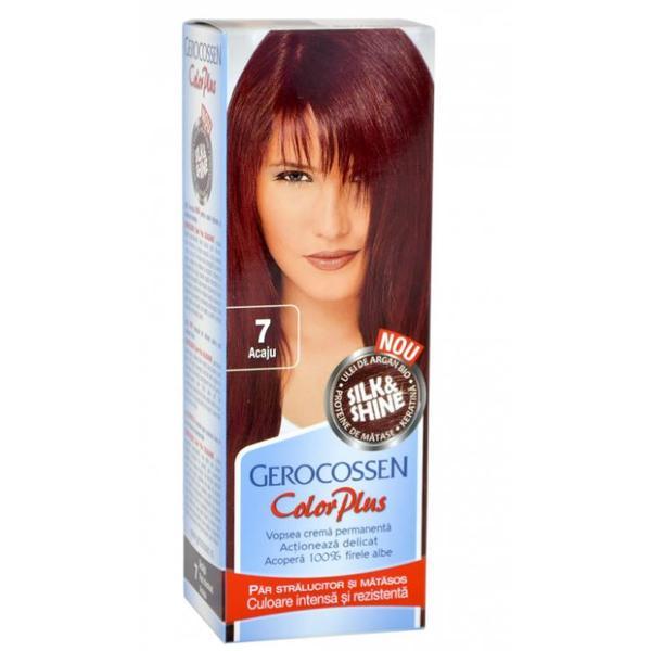 Vopsea de Par Silk&Shine Gerocossen Color Plus, nuanta 7 Acaju, 50 g poza