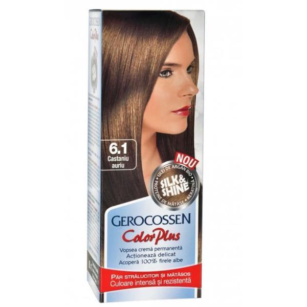 Vopsea de Par Silk&Shine Gerocossen Color Plus, nuanta 6.1 Castaniu Auriu, 50 g poza