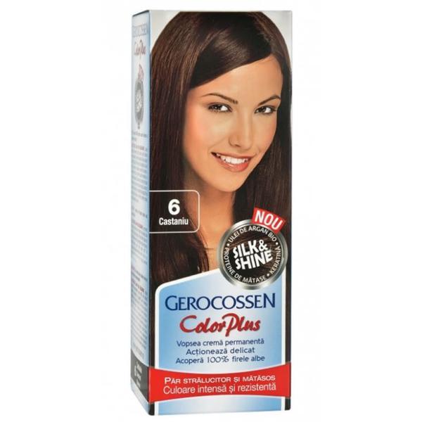 Vopsea de Par Silk&Shine Gerocossen Color Plus, nuanta 6 Castaniu, 50 g poza
