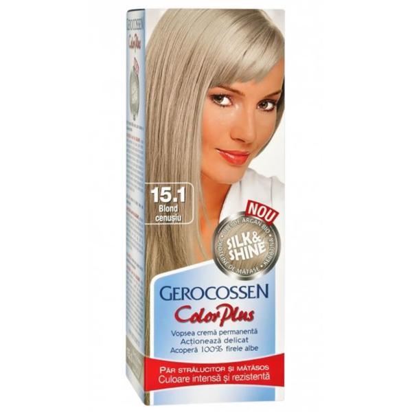 Vopsea de Par Silk&Shine Gerocossen Color Plus, nuanta 15.1 Blond Cenusiu, 50 g poza
