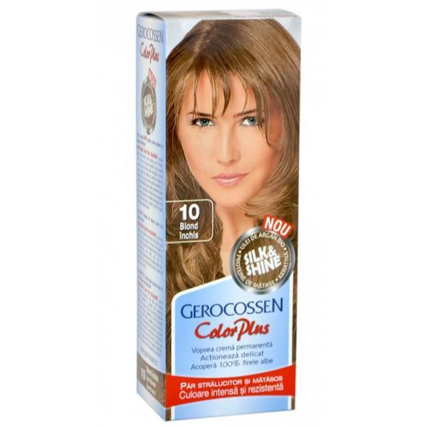 Vopsea de Par Silk&Shine Gerocossen Color Plus, nuanta 10 Blond Inchis, 50 g poza