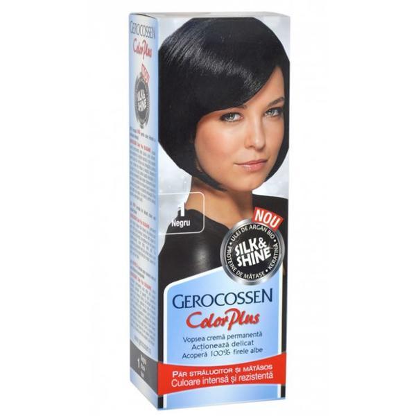 Vopsea de Par Silk&Shine Gerocossen Color Plus, nuanta 1 Negru, 50 g poza