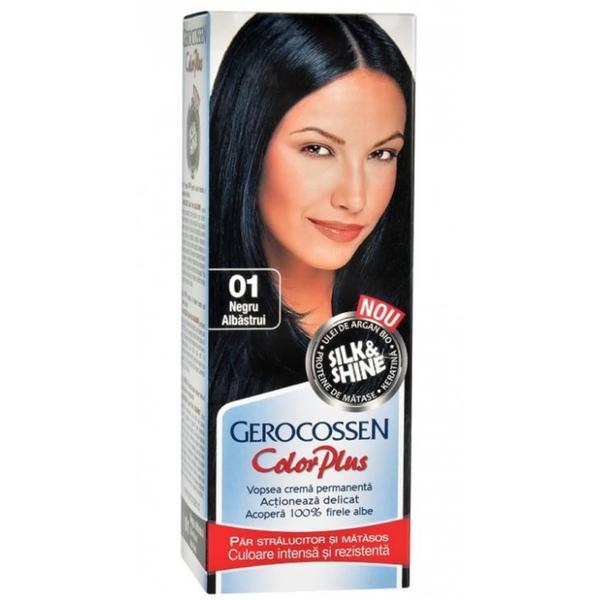Vopsea de Par Silk&Shine Gerocossen Color Plus, nuanta 0.1 Negru Albastrui, 50 g poza