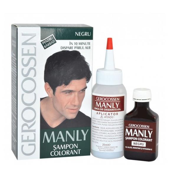 Sampon Colorant pentru Barbati Manly Gerocossen, Negru, 25 ml poza