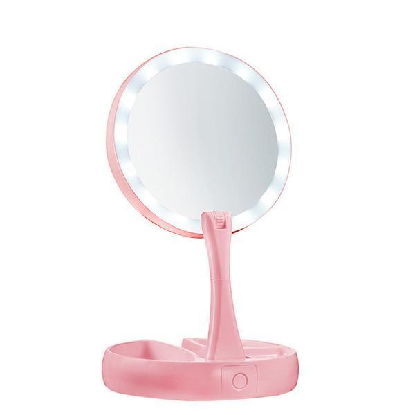 Oglinda Beyoutiful cu iluminare LED pe ambele fete, Roz,10 factor de marire,depozitare cosmetice,alimentare USB sau baterii AA, culoare roz