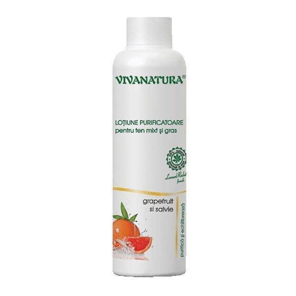 Loțiune purificatoare pentru ten mixt și gras cu grapefruit și salvie VivaNatura 150 ml imagine produs