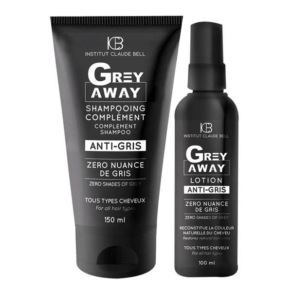 Set Grey Away - Lotiune 100ml si Sampon 150ml refacere culoare naturala par alb Institut Claude Bell