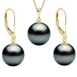 Set Aur 14 k cu Perle Naturale Negre Premium 10 mm